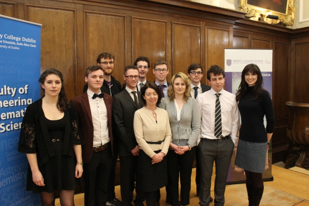 The TSSR team and guest speakers at the Launch. •Front row L-R: Elaine Kelly, Dylan Scully, Dr Andrew Jackson, Professor Linda Hogan Vice Provost of TCD, Georgia O'Sullivan, Johnny Dean, Aoibhinn Ní Shúilleabháin •Back row L-R: Paddy Cosgrave, Luke McGuinness, Dan McDermott, David Corish