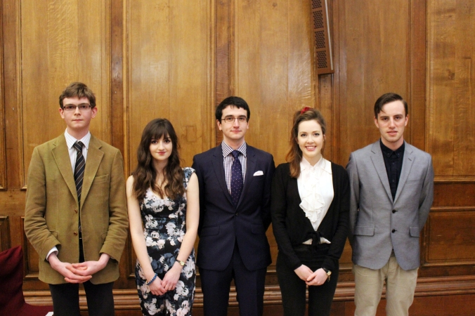 Five prize-winning authors of the Inaugural Trinity Student Scientific Review •L-R: Matthew Dorman (Best Biology), Shelley Stafford (Best Chemistry), Oskar Ronan (Best Overall), Kate Reidy (Best Freshman), Andrew Selkirk (Best Physics)